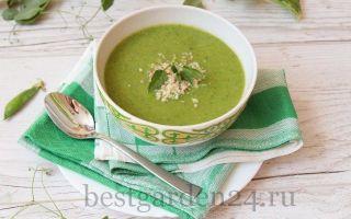 Суп-пюре из зеленого горошка и шпината