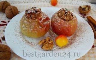 Запеченные яблоки с грушей, дыней и грецкими орехами