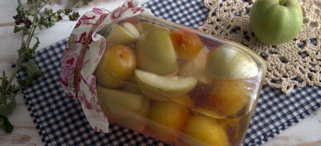 Яблочный компот с алычой и душицей на зиму