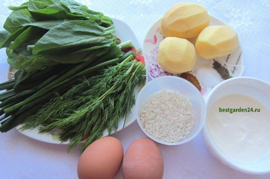 Продукты для супа из щавеля