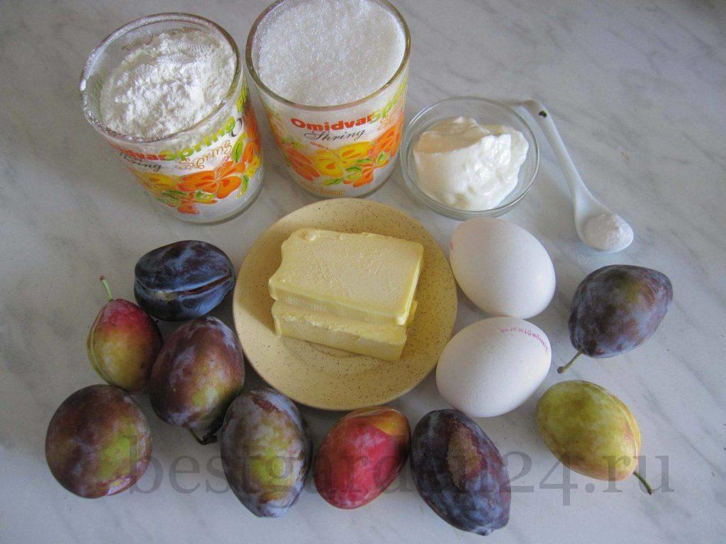 ингредиенты для пирога со сливами