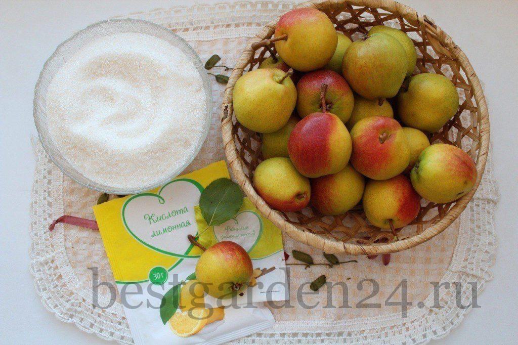 Ингредиенты для заготовки на зиму груши в сиропе