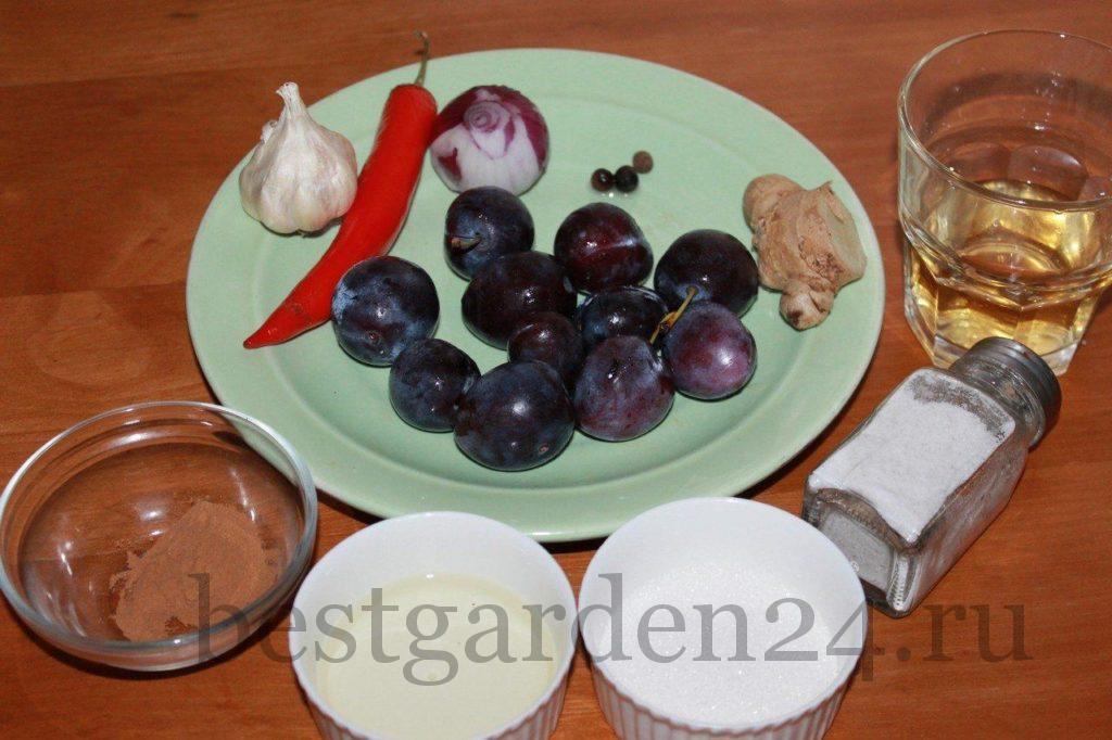 Ингредиенты для чатни из сливы