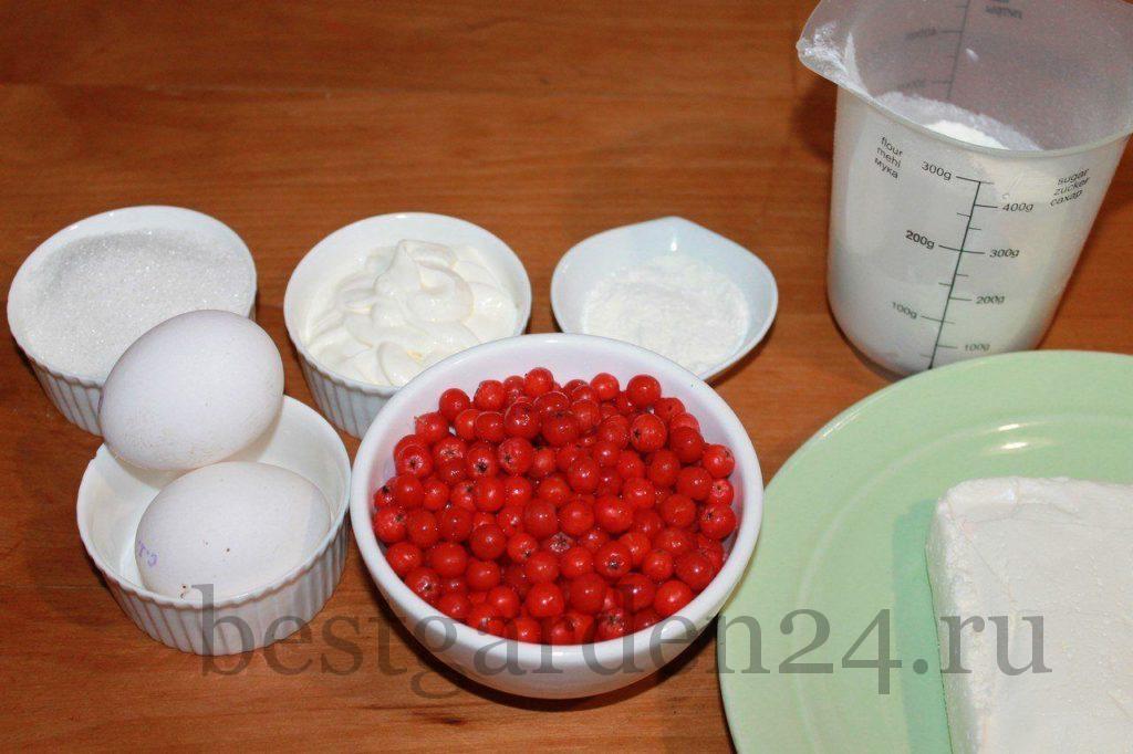Продукты для кекса с рябиной