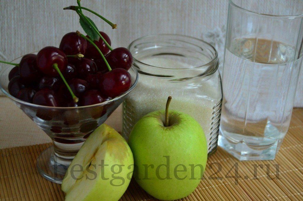 Вишня и яблоки для летнего компота