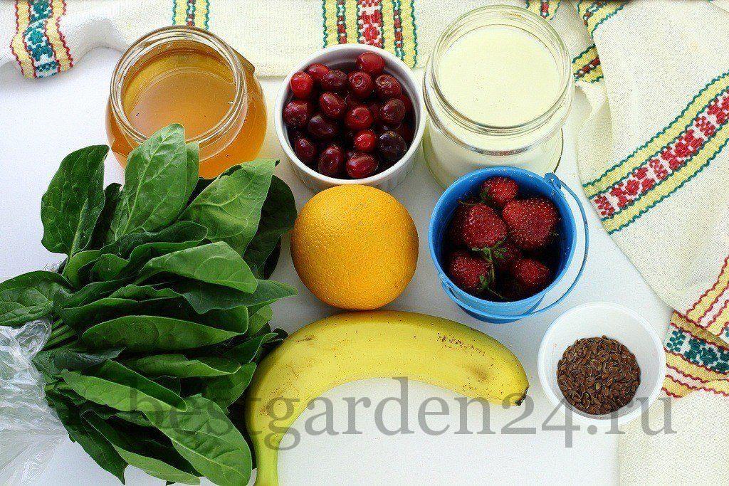 Шпинат, ягоды и фрукты для смузи