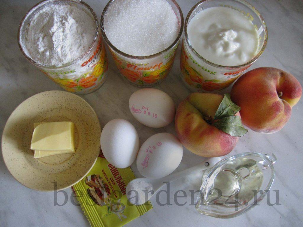 Продукты для пирога из персиков