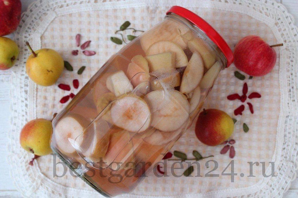 Компот на зиму в банке из груш и яблок