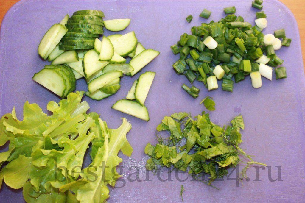 Измельченная зелень для салата