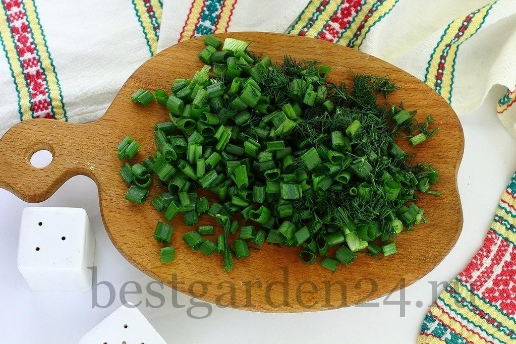 Измельченная зелень для окрошки
