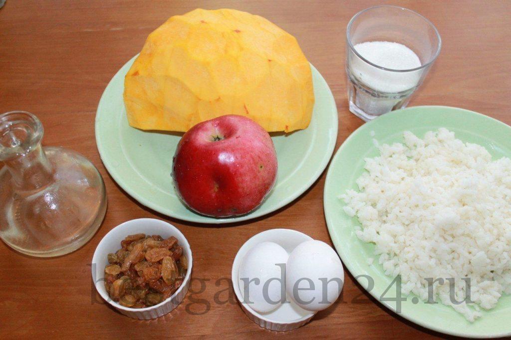 Ингредиенты для запеканки из тыквы и яблок