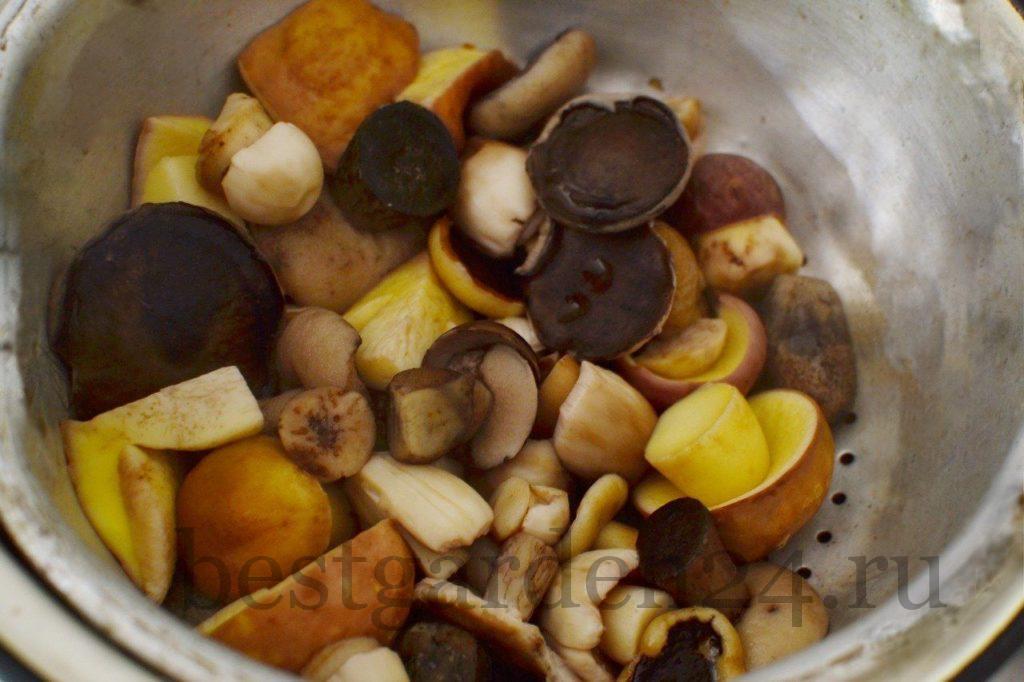 Промывание грибов после варки