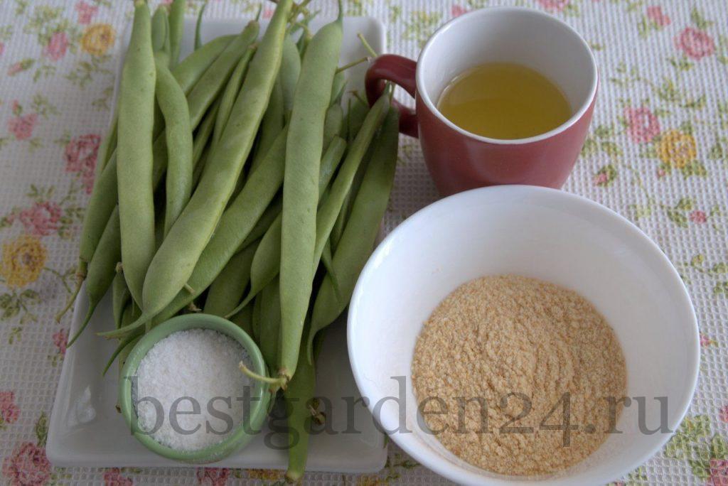 Стручковая фасоль, сухари, масло, соль