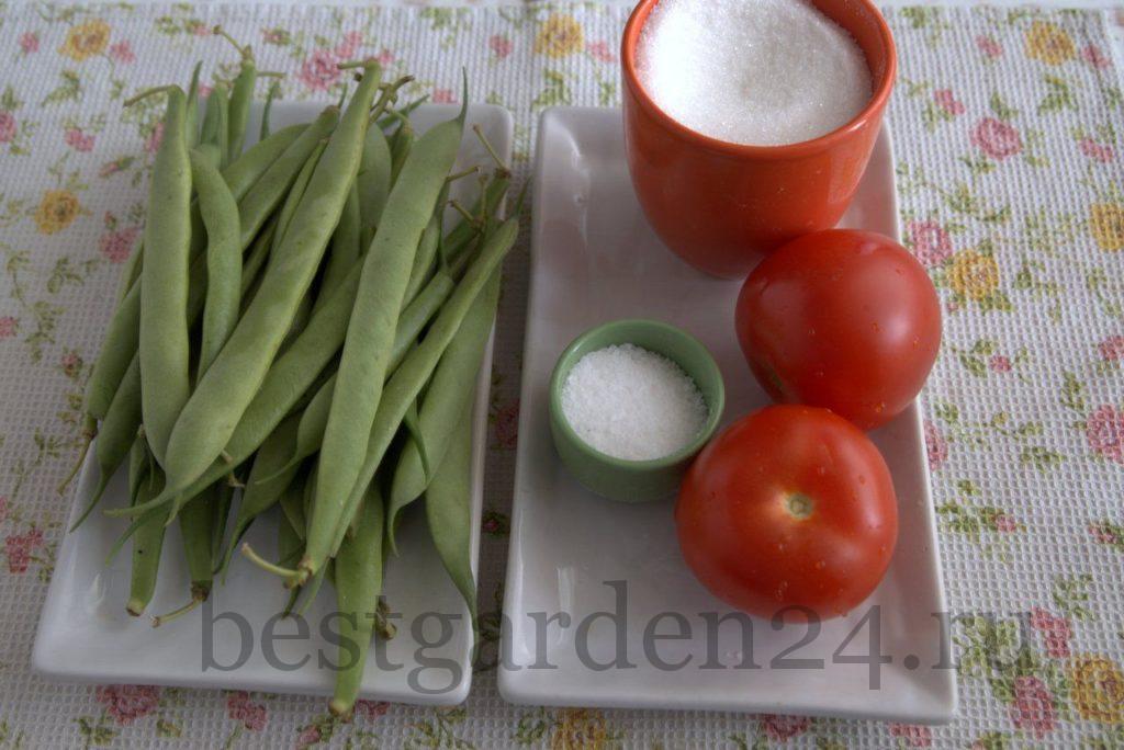 Спаржевая фасоль, томаты, сахар, соль